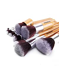 WIMKEN 11pcs Professional Makeup Cosmetic Brush Set Eyebrow Eyeliner Foundation Powder Bamboo Brush wih Free Bag