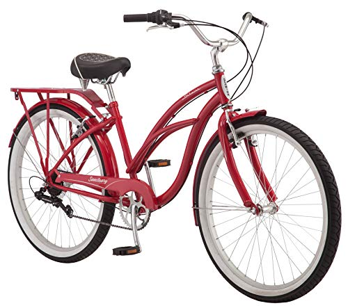 Schwinn Sanctuary 7 Comfort Cruiser Bike, Featuring Retro-Styled 16-Inch/Small Steel Step-Through Frame and 7-Speed Drivetrain with Front and Rear Fenders, Rear Rack, and 26-Inch Wheels, Red ()