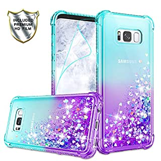 Galaxy S8 Plus Case, Galaxy S8 Plus Phone Case with HD Screen Protector for Girls Women, Gritup Cute Clear Gradient Glitter Liquid TPU Slim Phone Case for Samsung Galaxy S8 Plus Teal/Purple