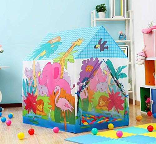 Tread Mall™ Foldable Light Weight Water Proof Jungle Theme Children's Pop Up Castle Tent Kids Playhouse for Indoor and Outdoor