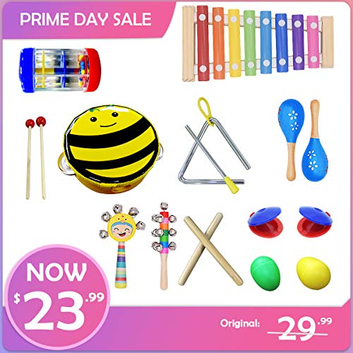 FRUITEAM Musical Instrument Set, Most Popular Toddler's Toys, Kids Mini Band, Rhythm Xylophone Set for Percussion Toy