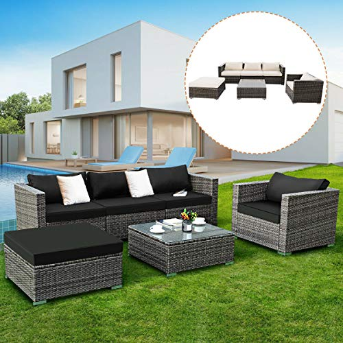 Tangkula 6PC Patio Furniture Set Outdoor Garden Backyard Poolside All Weather PE Rattan Wicker Steel Frame Sectional Cushioned Seat Sofa Conversation Set (Grey)