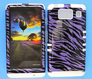 SHOCKPROOF HYBRID CELL PHONE COVER PROTECTOR FACEPLATE HARD CASE AND WHITE SKIN WITH STYLUS PEN. KOOL KASE ROCKER FOR MOTOROLA DROID RAZR HD XT926 ZEBRA WH-TP1299-S