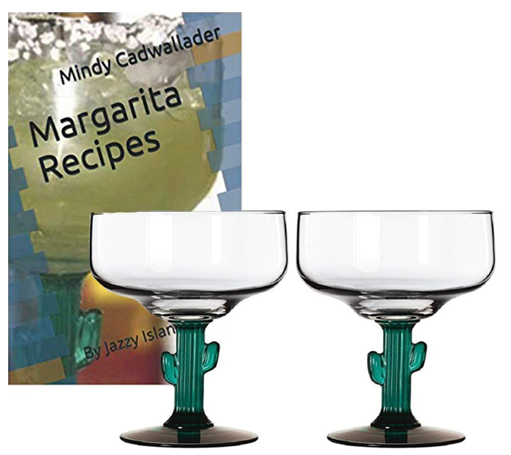 Classic Margarita Glasses - Green Cactus Stems - Cozumel Margarita 12 ounces - Blended Margaritas - On The Rocks