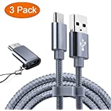 USB Type C Cable OULUOQI USB C Cable 3 Pack(6ft) Nylon Braided Fast Charger Cord(USB 2.0) for Samsung Galaxy S9 Note 8 S8 Plus,LG V30 G6 G5 V20,Google Pixel, Moto Z2, Nintendo Switch, Macbook(Grey)