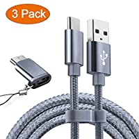 OULUOQI USB Type C Cable, USB C Cable 3 Pack(6ft) Nylon Braided Fast Charger Cord(USB 2.0) For Samsung Galaxy Note 8 S8 S8 Plus, Macbook(Grey)