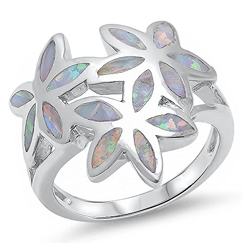 Lab Created White Opal Flower .925 Sterling Silver Ring size 8 (Flower Created Ring Silver Opal)