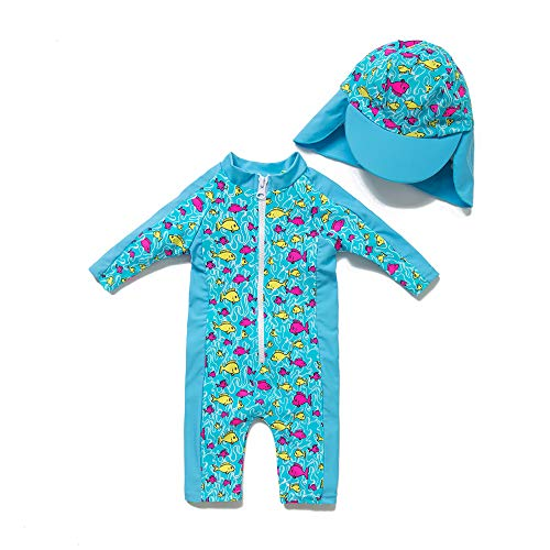 upandfast Baby UPF 50+ Sun Protection 3/4 Sleeve One Piece Zip Swimwear(Lake Blue, 3-6 Months)