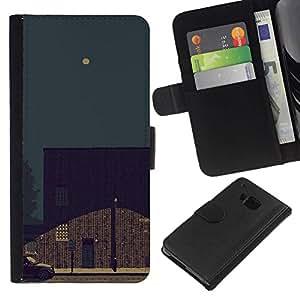All Phone Most Case / Oferta Especial Cáscara Funda de cuero Monedero Cubierta de proteccion Caso / Wallet Case for HTC One M9 // Night Sky Art Painting Full Moon Street Light
