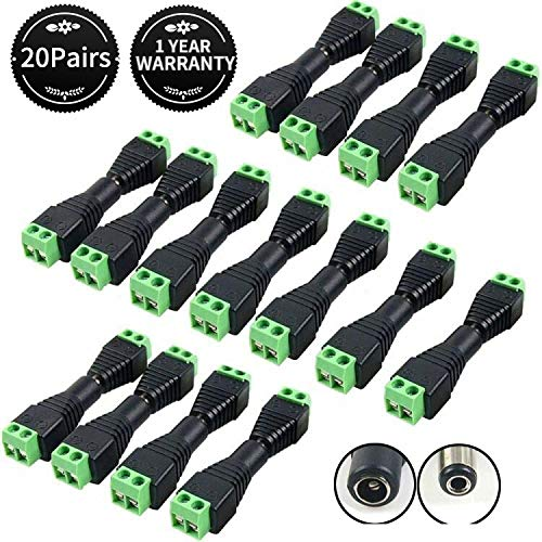 DC Power Connector 20 Pairs CCTV Power connectors 12V Male+Female 2.1x5.5MM DC Power Jack Plug Adapter Connector for CCTV Camera and LED Strip Light