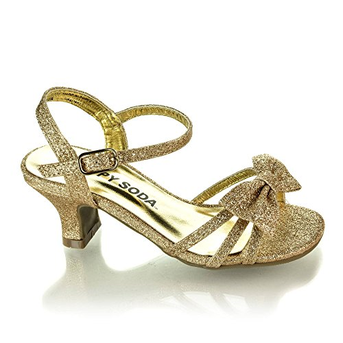 Slingback Girls - SODA Girls Girly-2 Metallic Glitter Open Toe Bow Slingback Small Block Heel Sandals,Gold Glt,2