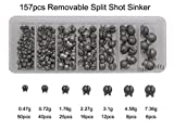 Removable Split Shot Sinker Kit Pure Lead Sinkers Weights Fishing Tackle Box 157pcs 7 Sizes