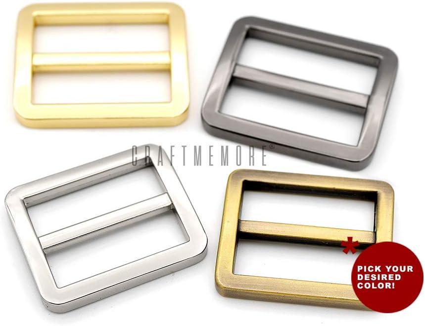 1 Inch, Gold CRAFTMEmore Flat Metal Slide Buckle Triglide Strap Keeper Leathercraft Bag Belt Adjuster Sliders 6 Pack