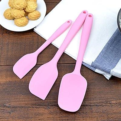 Accessoires de cuisine ZXY ZXY tuba résistantes à la chaleur rasant cuillère trois pièce gâteaux crème spatule bicarbonate de mixer couteau intégré silicone grattoir,pink