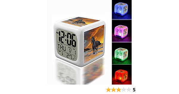 Beautiful Roblox 7 Color Changing Led Digital Alarm Clock Amazon Com Digital Alarm Thermometer Night Glowing Cube 7 Colors Clock Led Customize The Pattern 029 Black Beauty Stallion Horse Kitchen Dining