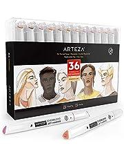 ARTEZA EverBlend Marker | 36 Marker mit Doppelspitze | Hautfarben, Feine Spitze und Keilspitze | Alkohol basierte Tinte | Marker-Set für Erwachsene und Profis
