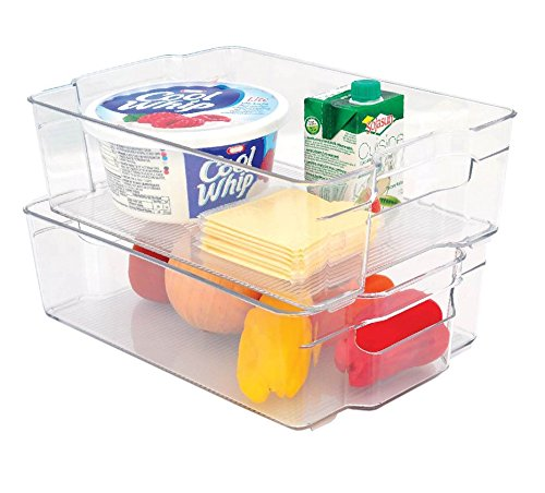 Stackable Storage Bin | Freezer Basket | Stackable Food Container or Storage | Refrigerator, Freezer or Cabinet | 12.25 x 8.5 x 3.5 inches | One Bin Included