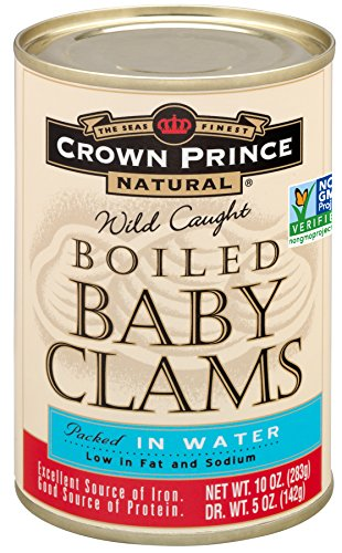 Crown Prince Natural Boiled Baby Clams in Water, 10-Ounce Cans (Pack of 12)