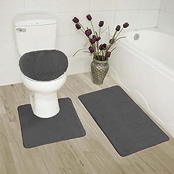 Amazon Com Elegant Home 3 Piece Bathroom Rug Set Bath Rug