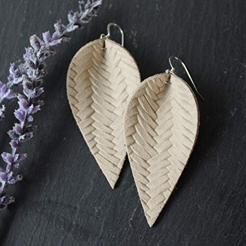 - Genuine Leather & Sterling Silver Leaf Earrings // Desert Tan Braided Leather // Joanna Gaines Inspired // Lightweight Statement Earrings