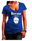 TooLoud Bernie for President Juniors Petite V-Neck Dark T-Shirt - Royal Blue - Large