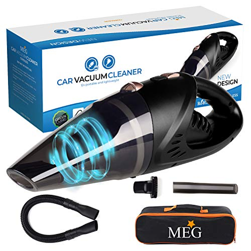 BuTure 8000Pa Handheld Vacuum Multifunction Tire Inflator Strong Cyclonic Suction Portable Vacuum with LED Light and 14.7Ft Corded for Car Tyres and Cleaning Car Vacuum