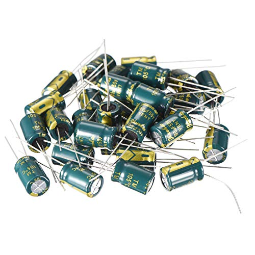 uxcell Aluminum Radial Electrolytic Capacitor Low ESR Green with 100UF 50V 105 Celsius Life 3000H 8 x 12 mm High Ripple Current,Low Impedance 35pcs