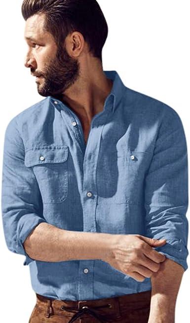 Chevalier - Camisa de Manga Larga para Hombre, Estilo Retro, Color Liso, Informal, M-3XL Azul 3XL: Amazon.es: Ropa y accesorios