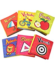 TOP BRIGHT Soft Cloth Books for Babies First Year, Baby Toys 6 to 12 Months Girls and Boys, Crinkly Cloth Book Bath Toys(Pack of 6)