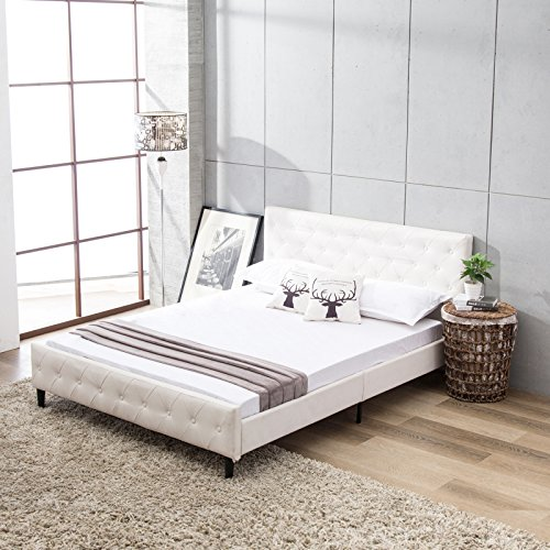 Leather Upholstered Bed - Mecor Upholstered Faux Leather Platform Bed with Solid Wooden Slat Support and Button Tufted Headboard and Footboard-Queen Size- White