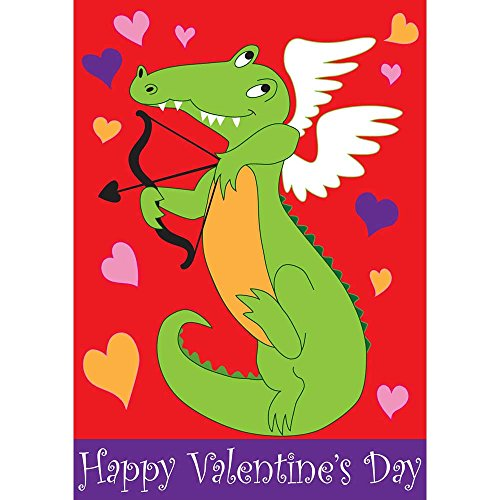 Happy Valentines Day Applique Flags (Happy Valentines Day Cupid Alligator 42 x 29 Rectangular Double Applique Large House Flag)