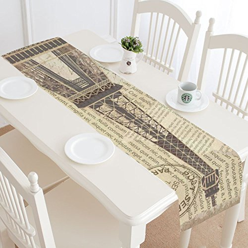 InterestPrint Vintage Paris Eiffel Tower Cotton Table Runner