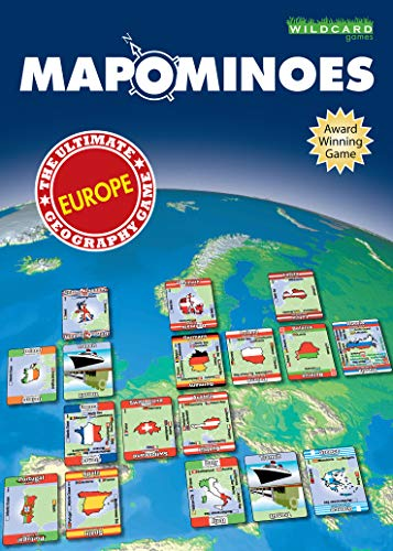MAPOMINOES EUROPE - The Ultimate Geography Game - Fun and educational travel card game about connecting European countries for kids teens and adults. Like dominoes with maps.