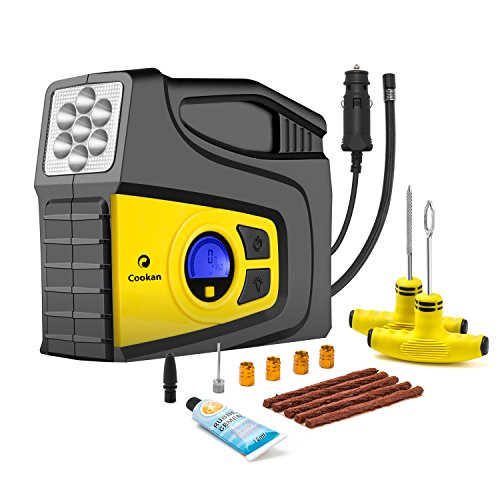 Discover Bargain Portable Tire inflator with Tire Repair Kit, 12V DC 100PSI Digital Air Compressor P...