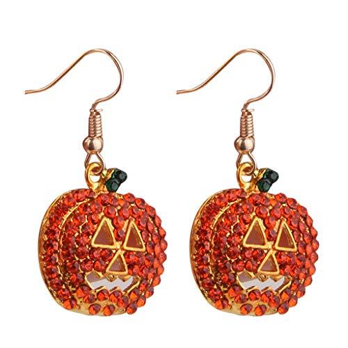 (Halloween Full Crystal Rhinestone Pumpkin Pierced Hook Dangle Stud Earrings Necklace Jewelry Crafting Key Chain Bracelet Pendants Accessories Best)