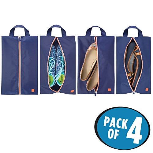 mDesign Water-Resistant Shoe Travel Storage Organizer Tote Bag with Zipper Closure and Hanging Loop for Packing Luggage/Suitcase and Carry-On - Pack of 4, Navy Blue/White Trim, Orange Zipper from mDesign