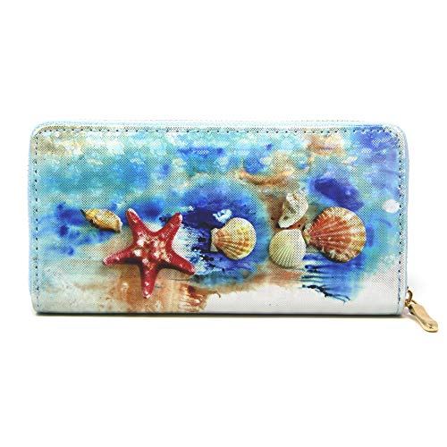by you Women Holographic 3D Long Clutch Wallet Zipper Closure Card Slots Zippered Coin Pouch - Seashell Coin