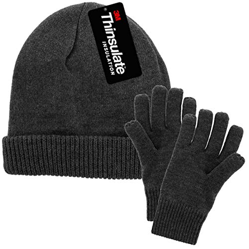 DG Hill Mens Winter Hat And Gloves Set with 3M Thinsulate fleece lining, Charcoal Gray One Size