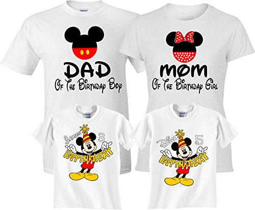 Birthday Boy/Girl Mickey and Minnie Custom Family Customized Shirts Medium Adult Unisex]()