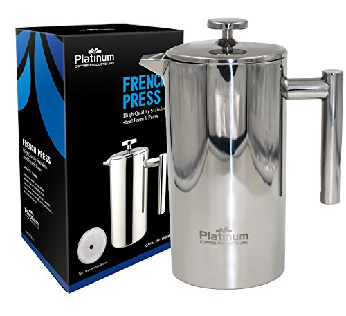 - Platinum French Press Coffee Stainless Steel Double Wall 1000ml / 34OZ 1 Liter Insulated Double Wall. Makes 8 Cups or Mugs, No Plastic or Glass Coffee Tea Lovers, Fresh Brewed Best tasting #1 Coffee !