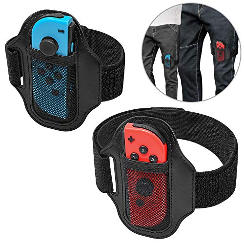 [2 Pack] Leg Strap for Nintendo Switch Ring Fit Adventure, Joy-Cons Controller Game Accessories, Adjustable Elastic Strap for Switch Controller Game. Two Size for Adults and Children