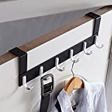 KAIYING Over The Door Hook Hanger,Heavy Duty Organizer Rack for Coat, Towel, Bag, Robe - 6/7 Hooks, Aluminum, Polished Finish (6 Hooks)