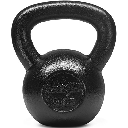 Yes4All Solid Cast Iron Kettlebell Weights Set – Great for Full Body Workout and Strength Training – Kettlebell 55 lbs (Black)