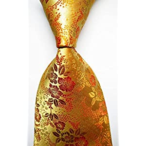Banana Republican RGB 80869 Amazing Florals Yellow Gold JACQUARD WOVEN Silk Men Tie Necktie