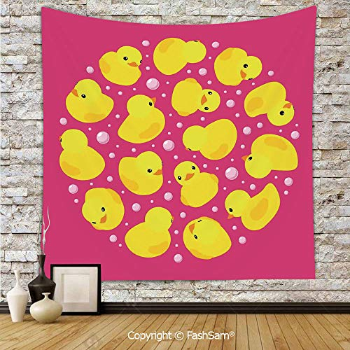 FashSam Tapestry Wall Blanket Wall Decor Fun Baby Duckies Circle Artsy Pattern Kids Bath Toys Bubbles Animal Print Home Decorations for Bedroom(W59xL78)