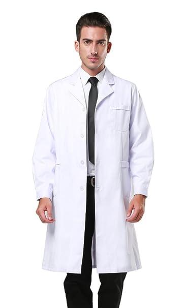 5cb390e0584 Amazon.com: Men's White Lab Coats Doctor Workwear - Unisex Lab Coat Scrubs  Adult Uniform: Clothing