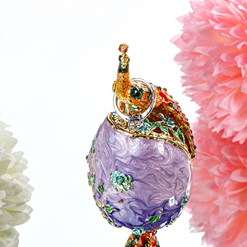 YUFENG Faberge Egg Peacock Trinket Box Hinged Jewelry Collectible Figurine Ring Holder (purple)