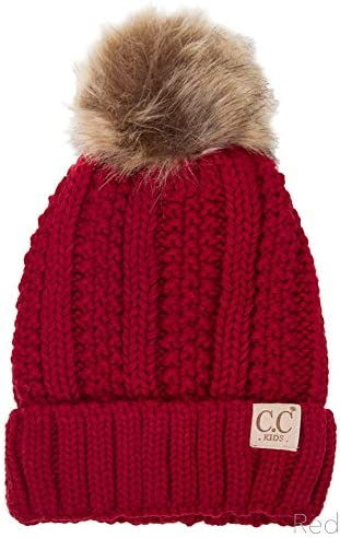 ScarvesMe Exclusive 2-7yrs Fuzzy Fleece Lined Baby Kids Toddler Children Winter Beanie with Pom Pom