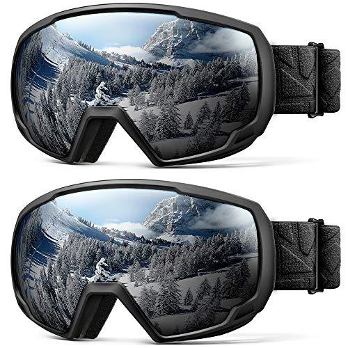OutdoorMaster Kids OTG Ski Goggles - 2-Pack Over Glasses Kids Ski Goggles, 100% 400UV Protection - for Kids & Youth - (2 Pack) Black/Grey (VLT 10%)