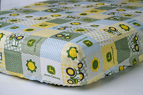 Tractor Fitted Crib Sheet, displaying John Deere Tractors and Logos